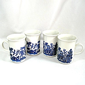 Churchill England Blue Willow Set 4 Coffee Mugs