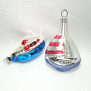 Red Blue Glass Sailboat, Passenger Ship Christmas Ornaments