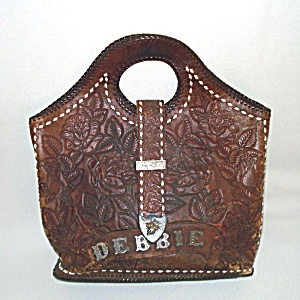 Western Tooled Leather Cowgirl Bucket Tote Purse