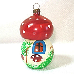 Mushroom House Unsilvered Glass Christmas Ornament