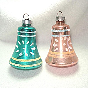 Pair Usa Decorated Glass Bell Christmas Ornaments Circa 1940