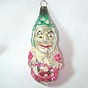 Germany 1930s Punch Clown Glass Christmas Ornament