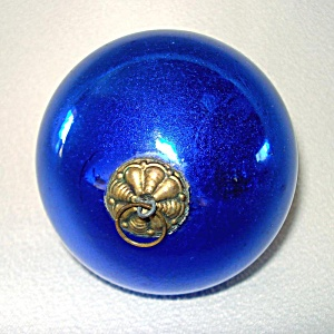 Antique 3 Inch Cobalt Blue German Glass Kugel Christmas Ornament