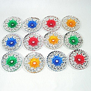 Dozen 1960s Christmas Light Reflectors For Miniature Bulbs