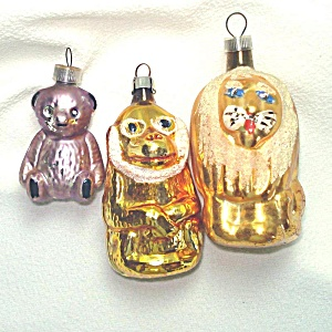 Lion, Monkey, Teddy Bear Austrian West Germany Glass Christmas Ornaments