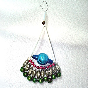 Czech Beaded Fan Glass Christmas Ornament