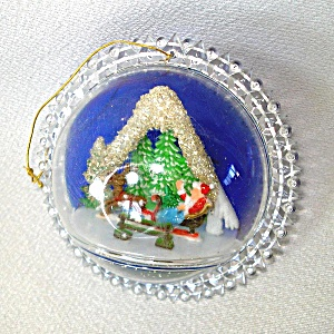 Plastic Bubble Diorama Santa Scene 1960s Christmas Ornament