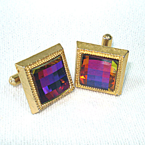 Square Faceted Vitrail Watermelon Glass Stone Cufflinks