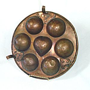 3 Legged Antique Copper Ebelskiver Pan (Image1)