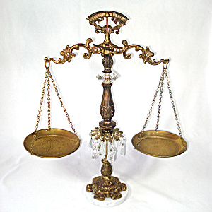 1970s Crystal Brass Marble Decorative Balance Scales With Prisms