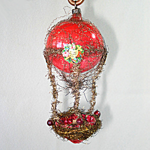 Victorian Wired Tinsel Glass Hot Air Balloon Christmas Ornament (Image1)