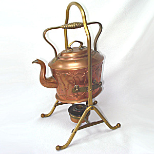 Antique Copper German Jugendstil Spirit Kettle (Image1)