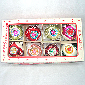 Box West German Fancy Triple Indent Glass Christmas Ornaments