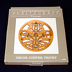 Pfaltzgraff Village Copper Flower Trivet Mint In Box