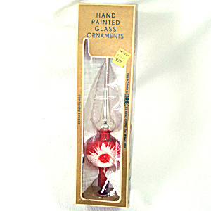 Glass Spire Christmas Tree Topper Red Snowfrost Indent