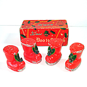 Box Santa Boots Christmas Candles With Holly, Beads