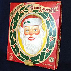 Glolite 1950s Lighted Christmas Illuminated Santa Wreath