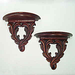 Pair Syroco Wood Corbel Style Wall Shelves Dark Cherry Color
