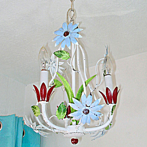 Petite Italian Tole Blue Red Flower Chandelier 3 Light Lamp