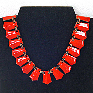 Renoir Matisse Modernist Red Orange Enameled Copper Necklace