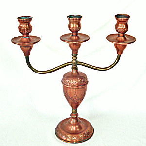 Chased Copper Three Light Candelabra