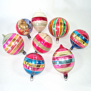 Poland Germany Colorful Stripes Glass Christmas Ornaments