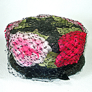 Coralie Pink On Black Peonies Ladies Pillbox Hat