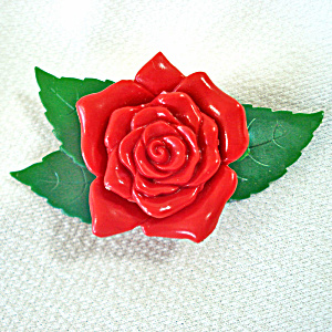 Celluloid Rose And Leaves Brooch Pin Gruver Chicago