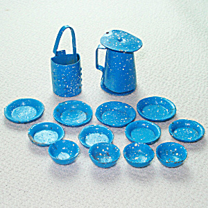 Miniature Dollhouse Graniteware Dishes, Grater, Coffee Pot 15 Pieces
