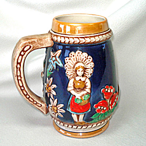 West German Ceramic Alps Couple Beer Stein Luster Cobalt (Image1)