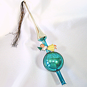 Wire Wrapped Glass Spire Christmas Tree Topper With Angel Boxed