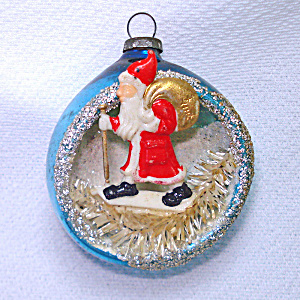 Belsnickle Santa Glass Diorama Indent Scene Christmas Ornament (Image1)