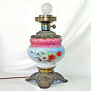 Victorian Hand Painted Parlor Lamp Converted To Electric