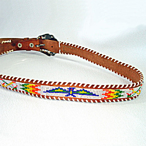 Indian Style Vintage Western Thunderbird Beaded Belt Size 34