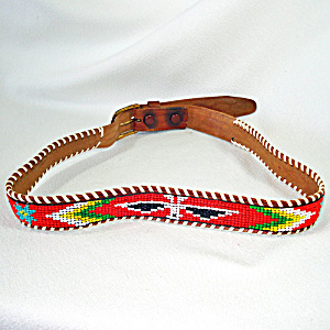 Indian Style Vintage Western Thunderbird Beaded Belt Size 32