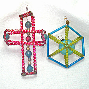 Beaded Wired Cross, Hexagon Glass Christmas Ornaments