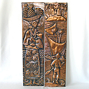 Skinny Tiki Tooled Copper Art Pictures Tropical Mid Century