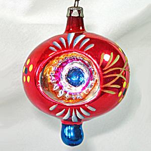 4 Poland Blue Teardrop Indent Glass Christmas Ornaments