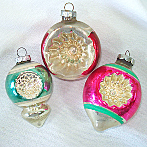Mid Century American Indent Glass Christmas Ornaments