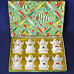 1950s Japan Porcelain Angels Christmas Ornaments Mint in Box (Image1)