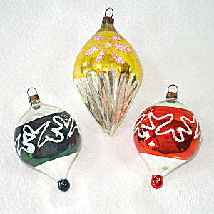 German Cone Drop Glass Christmas Ornaments