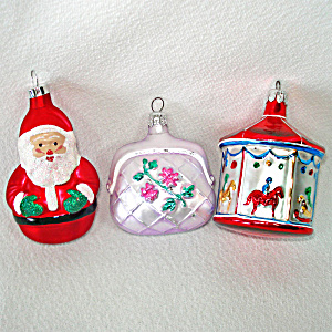 Carousel, Purse, Santa Figural Glass Christmas Ornaments