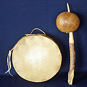 Native American Style Hoop Drum And Gourd Rattle