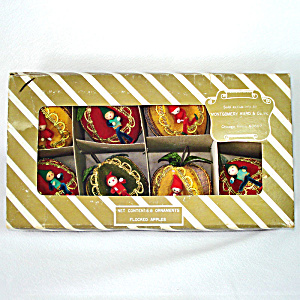 Box Pixies In Flocked Apples 1960s Christmas Ornaments