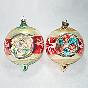 pair jumbo german triple indent glass christmas ornaments