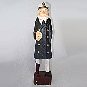 Folk Art Carved Wood Sea Captain Figure Wooden Leg