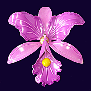 Purple Orchid Flower Enameled 1960s Mod Brooch Pin