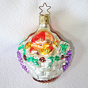 Fruit Basket German Glass Christmas Ornament Mint In Box