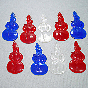 1950s Red Blue Flat Back Plastic Snowman Christmas Ornaments