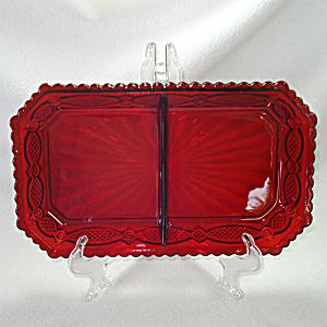 Fostoria for Avon Ruby Cape Cod 2 Part Relish Dish (Image1)